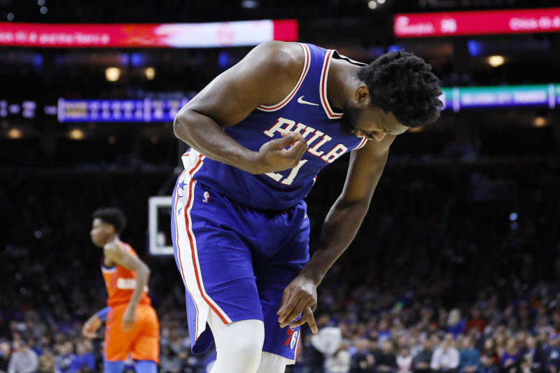 Joel Embiid returned to Monday's game after suffering a finger injury. (AP Photo/Matt Slocum)