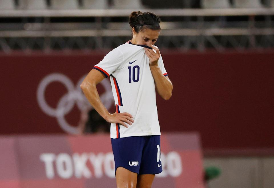 Carli Lloyd reacts after the U.S. women's national team's loss to Canada.