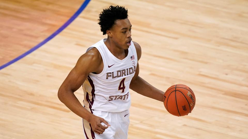Florida State guard Scottie Barnes (4) drives down court during the first half of an NCAA college basketball Championship game against Georgia Tech at the Atlantic Coast Conference tournament.