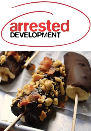 """<div class=""""caption-credit""""> Photo by: Caitlin Morton</div><div class=""""caption-title""""></div><b><i>Arrested Development</i>   Frozen Bananas with Peanuts and Bacon</b> <br> When <i>Arrested Development</i> returned for a fourth season reboot on Netflix, a lot of things were different from the show's original content. But one thing will remain true no matter what: there's always money in the banana stand. Michael Bluth (Jason Bateman, nominated for Lead Actor in a Comedy) and his family are famous for their frozen bananas, and this particular recipe takes it to the next level. This treat is nicknamed """"The Frozen Elvis"""" because it combines all the ingredients of the King's favorite sandwich - bananas, peanuts, and bacon. Yum! <br> <a rel=""""nofollow"""" href=""""http://www.babble.com/best-recipes/the-frozen-elvis/"""" target=""""_blank""""><i>Make frozen bananas with peanuts and bacon</i></a>"""