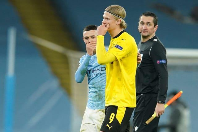 Foden, left, was seen chatting to Haaland at the end of the game at the Etihad Stadium