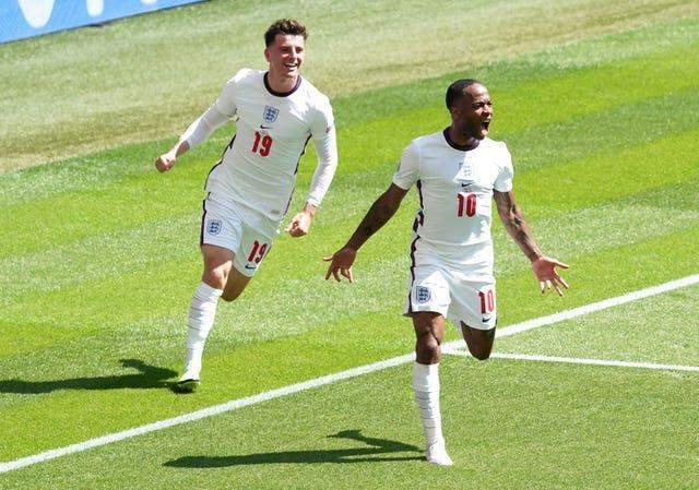 Raheem Sterling (right) scored as England opened their tournament with victory over Croatia