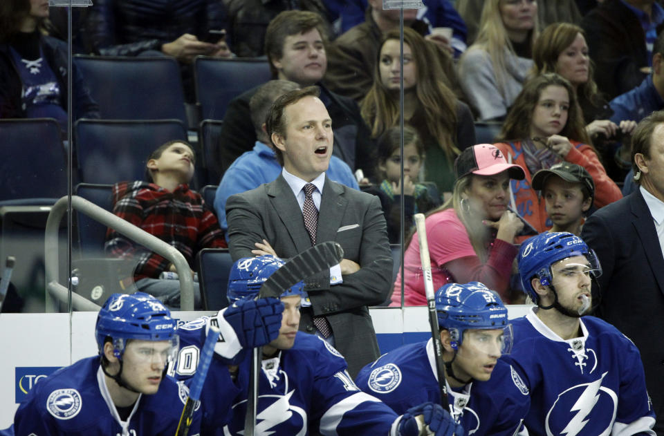 Jan 9, 2015; Tampa, FL, USA; Tampa Bay Lightning head coach Jon Cooper reacts on the bench against the Washington Capitals during the first period at Amalie Arena. (Kim Klement-USA TODAY Sports)