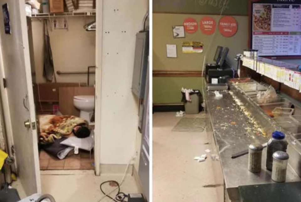 Photos that allegedly depicted an employee of Papa Murphy's in Pacifica, Calif. sleeping on the bathroom floor while the store was open have gone viral. (Photo: Reddit)
