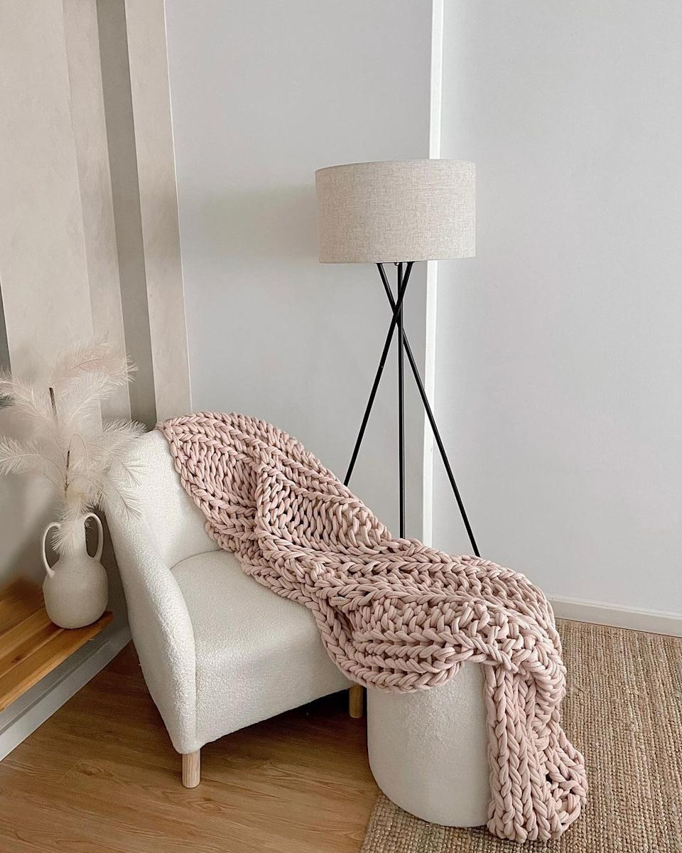 Boucle chair from Kmart with Kmart ottoman and lamp