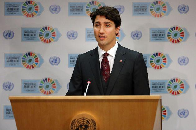 Liberal Leader Justin Trudeau speaks at the United Nations signing ceremony for the Paris Agreement on climate change, April 22, 2016 in New York City.