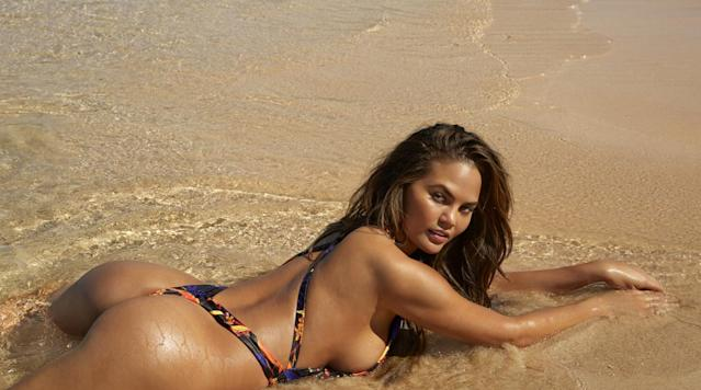 <p>Chrissy Teigen was photographed by James Macari in Sumba Island. Swimsuit by Agua Bendita Swimwear.</p>
