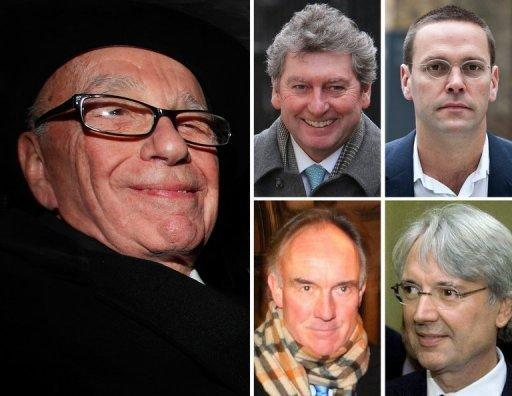 Archive images show News Corp Chief Rupert Murdoch, Former News of the World editor Colin Myler (C top), former NoW legal manager Tom Crone (C bottom), former News International chairman and chief executive James Murdoch (R top), and former News International executive chairman Les Hinton (R bottom)