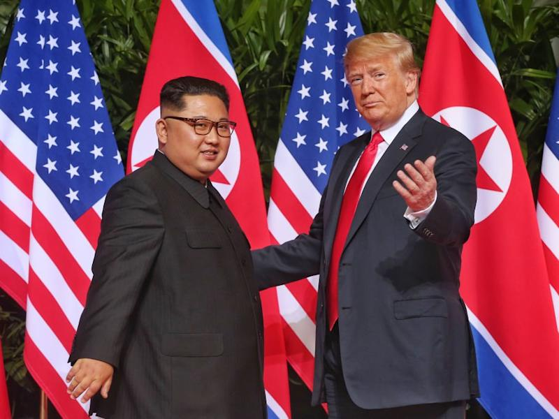 Mr Trump became the first sitting president to meet with a leader from the North Korean regime: Getty