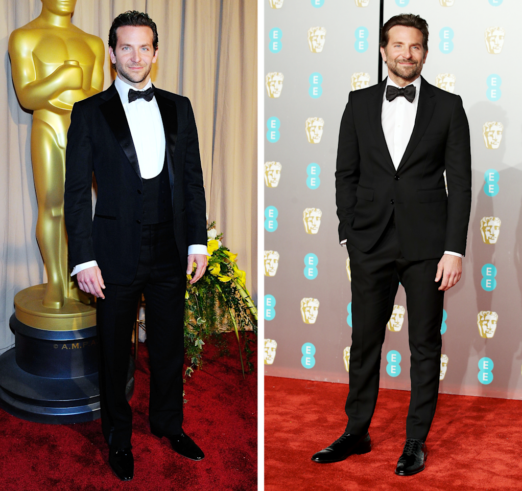 Left, at the Oscars on March 7, 2010; right, at the 2019 BAFTAs on February 10.
