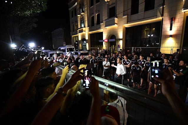Rafa Marquez addresses Mexico fans the night before the team's World Cup match against South Korea. (Getty)