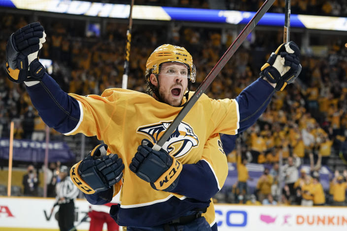 Nashville Predators center Ryan Johansen celebrates after scoring a goal against the Carolina Hurricanes during the second period in Game 4 of an NHL hockey Stanley Cup first-round playoff series Sunday, May 23, 2021, in Nashville, Tenn. (AP Photo/Mark Humphrey)