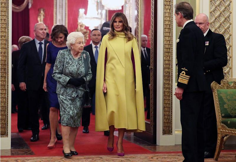 Queen Elizabeth (front left) with First Lady Melania Trump at Buckingham Palace on Tuesday night | Yui Mok/POOL/EPA-EFE/Shutterstock