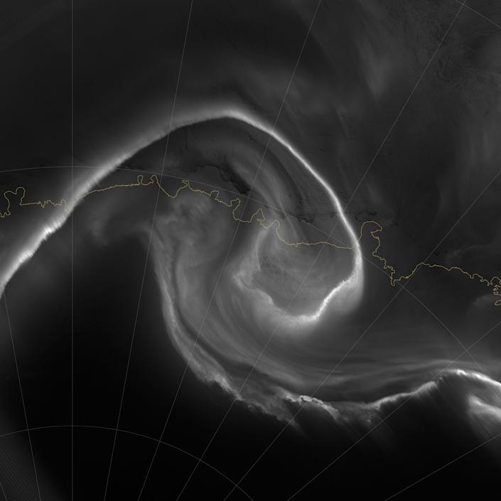 """On July 15, 2012, the Visible Infrared Imaging Radiometer Suite (VIIRS) on the Suomi NPP satellite captured this nighttime view of the aurora australis, or """"southern lights,"""" over Antartica's Queen Maud Land and the Princess Ragnhild Coast. (NASA)"""