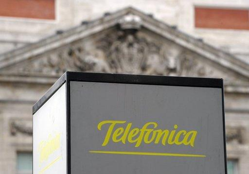 The Spanish Telefonica logo is pictured at the Puerta del sol in Madrid