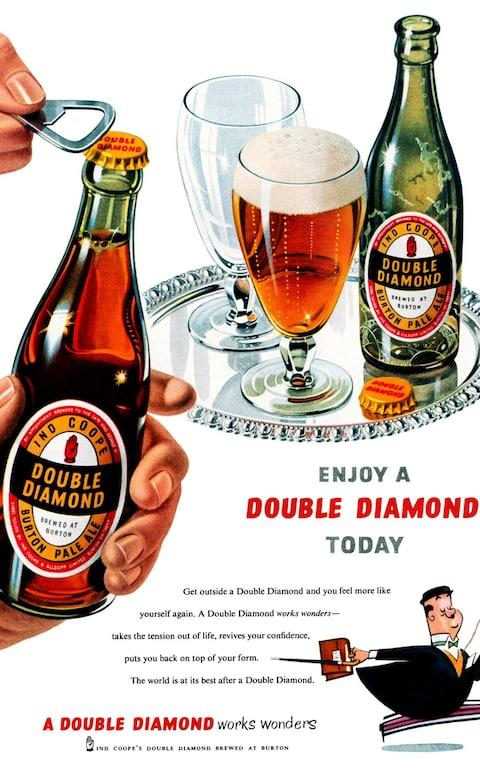 A 1953 advertisement for Double Diamond pale ale - Credit: Alamy