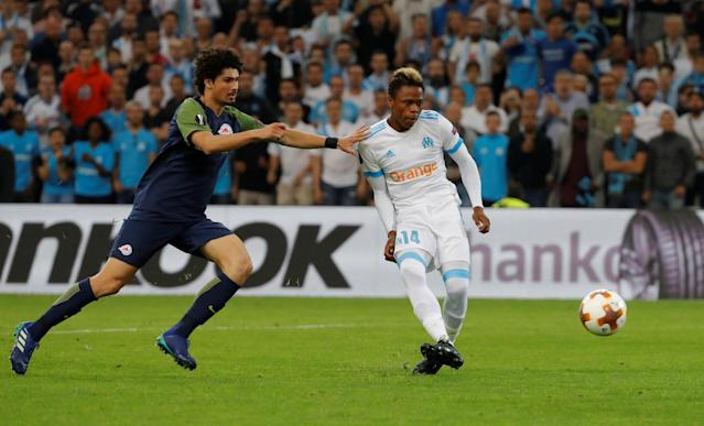 Soccer Football - Europa League Semi Final First Leg - Olympique de Marseille vs RB Salzburg - Orange Velodrome, Marseille, France - April 26, 2018 Marseille's Clinton Njie scores their second goal REUTERS/Eric Gaillard