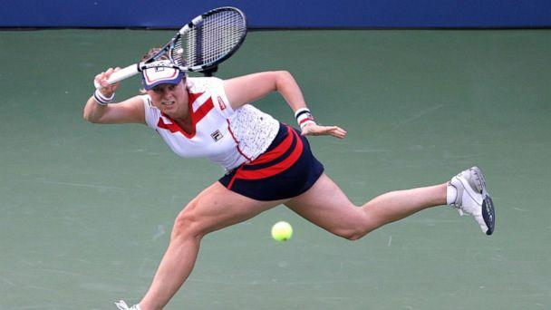 PHOTO: Kim Clijsters returns a shot to Laura Robson in the second round of play at the 2012 U.S. Open tennis tournament in New York, Aug. 29, 2012. (Darron Cummings/AP, FILE)