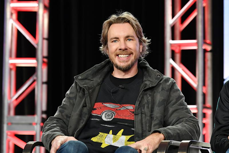 "Dax Shepard of ""Top Gear America"" speaks during the Discovery MotorTrend segment of the 2020 Winter TCA Press Tour at The Langham Huntington, Pasadena on January 16, 2020 in Pasadena, California. (Photo by Amy Sussman/Getty Images)"