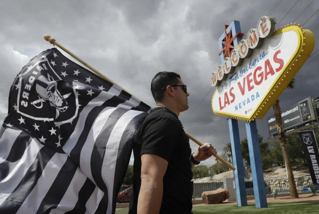 The NFL's embrace of legal sports gambling includes the Raiders moving to Las Vegas for the 2020 season. (AP Photo/John Locher, File)