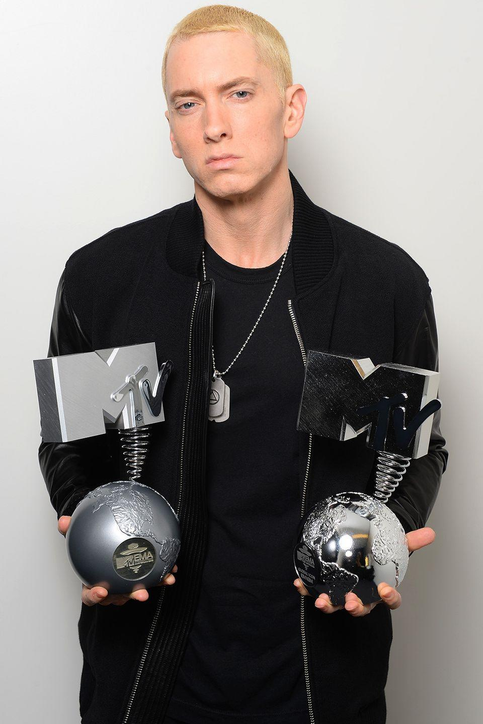 """<p>After the rapper struggled with dangerous addictions to both alcohol and drugs for <a href=""""http://www.mtv.com/news/1610557/eminem-admits-he-almost-died-from-drug-overdose/"""" rel=""""nofollow noopener"""" target=""""_blank"""" data-ylk=""""slk:many years"""" class=""""link rapid-noclick-resp"""">many years</a> throughout his early career, Eminem has returned to music sober.</p>"""