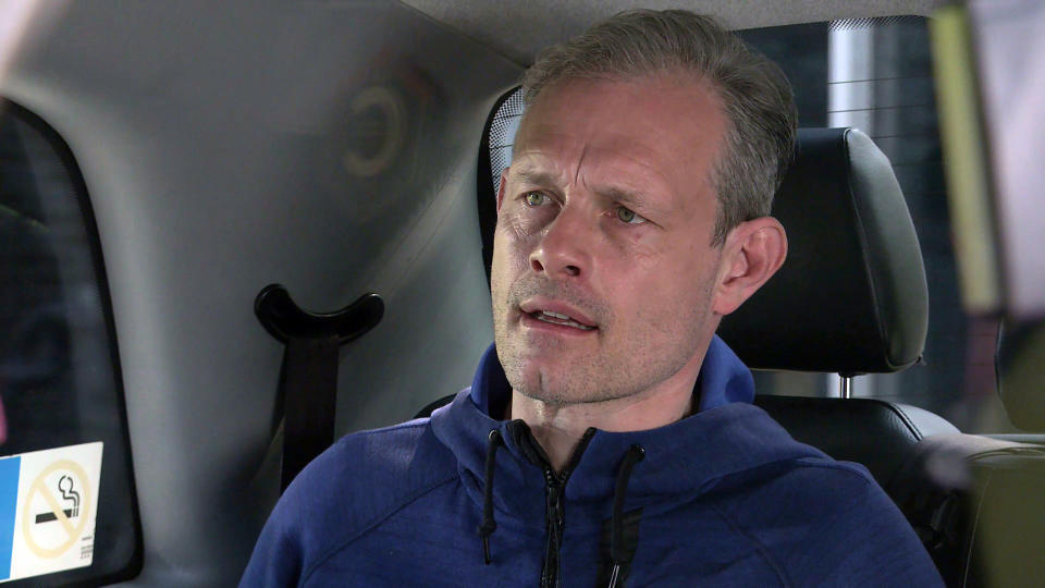 FROM ITV  STRICT EMBARGO - No Use Before Tuesday 18th May 2021  Coronation Street - Ep 10334  Monday 24th May 2021 - 2nd Ep  Nick Tilsley [BEN PRICE] finds himself in danger when he gets into a taxi only to discover the driver is one of Harvey's thugs. Handing Nick a burner phone, the thug tells him that unless Leanne and Simon retract their evidence, he'll never see his precious son again.  Picture contact David.crook@itv.com   This photograph is (C) ITV Plc and can only be reproduced for editorial purposes directly in connection with the programme or event mentioned above, or ITV plc. Once made available by ITV plc Picture Desk, this photograph can be reproduced once only up until the transmission [TX] date and no reproduction fee will be charged. Any subsequent usage may incur a fee. This photograph must not be manipulated [excluding basic cropping] in a manner which alters the visual appearance of the person photographed deemed detrimental or inappropriate by ITV plc Picture Desk. This photograph must not be syndicated to any other company, publication or website, or permanently archived, without the express written permission of ITV Picture Desk. Full Terms and conditions are available on  www.itv.com/presscentre/itvpictures/terms
