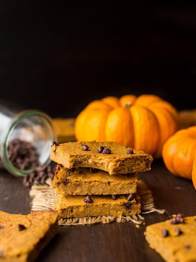 """<p>Made with only eight ingredients, these chewy blondies are a treat for your taste buds. Pair them with semisweet chocolate chips and enjoy!</p> <p><strong>Get the recipe</strong>: <a href=""""https://www.asaucykitchen.com/chickpea-pumpkin-blondies/"""" class=""""link rapid-noclick-resp"""" rel=""""nofollow noopener"""" target=""""_blank"""" data-ylk=""""slk:chickpea pumpkin blondies"""">chickpea pumpkin blondies</a></p>"""