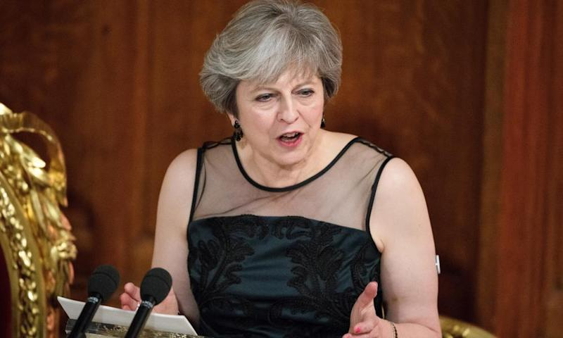 Prime Minister Theresa May delivers her speech at the annual Lord Mayor's banquet on 13 November in which she spoke of Russian effort to destabilise countries and elections worldwide.