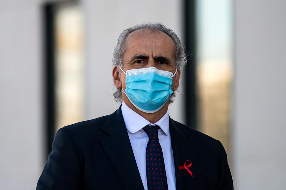 MADRID, SPAIN - 2020/12/01: Enrique Ruiz Escudero, Health Adviser of the Community of Madrid, wearing a face mask, is seen during the inauguration of Enfermera Isabel Zendal Hospital. The new emergencies hospital has been built in three months with an approximate cost of 100 million euros to be used for  pandemics or health emergencies, with 1,000 beds that could take care of coronavirus (COVID-19) patients. (Photo by Marcos del Mazo/LightRocket via Getty Images)
