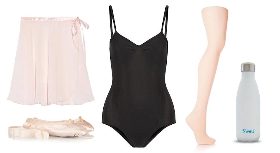 <p>Learning the proper forms and functions of ballet— a sport known for its elegant and dedicated dancers—is tough work. But introductory workouts and classes, like Ballet Beautiful, will get you on your toes in no time. This black leotard and pink wrap skirt will have you pirouetting that Christmas ham away.</p>