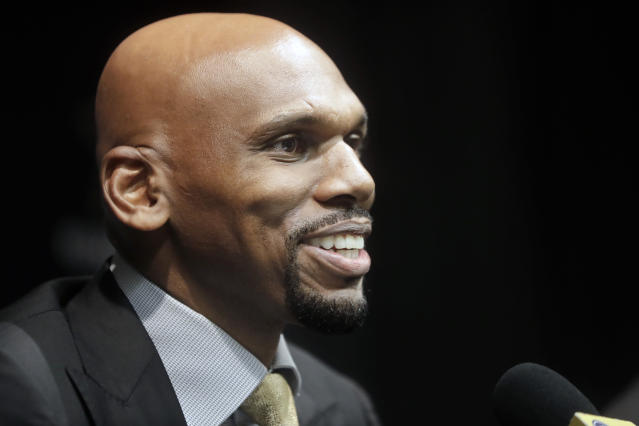 FILE -- In this April 8, 2019, file photo, Vanderbilt basketball coach Jerry Stackhouse answers questions at a news conference in Nashville, Tenn. Former NBA stars Stackhouse and Penny Hardaway have taken on new challenges with both trying to revive a pair of struggling college basketball programs about 200 miles apart in Tennessee. (AP Photo/Mark Humphrey, File)