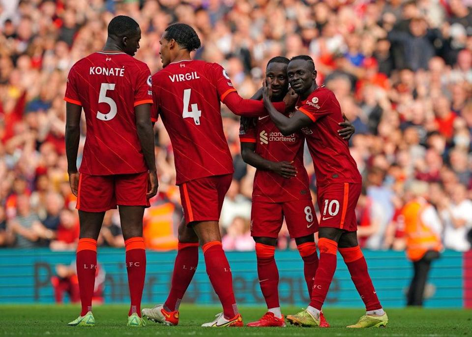 Naby Keita (second right) scored a spectacular third goal (Peter Byrne/PA) (PA Wire)