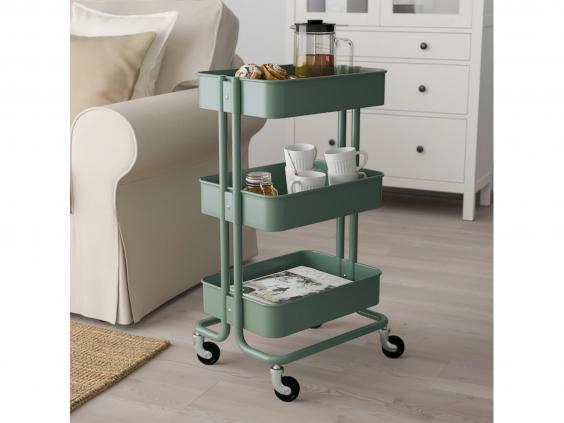 This trolley is a portable storage solution for the bathroom, bedroom, kitchen or living room (Ikea)