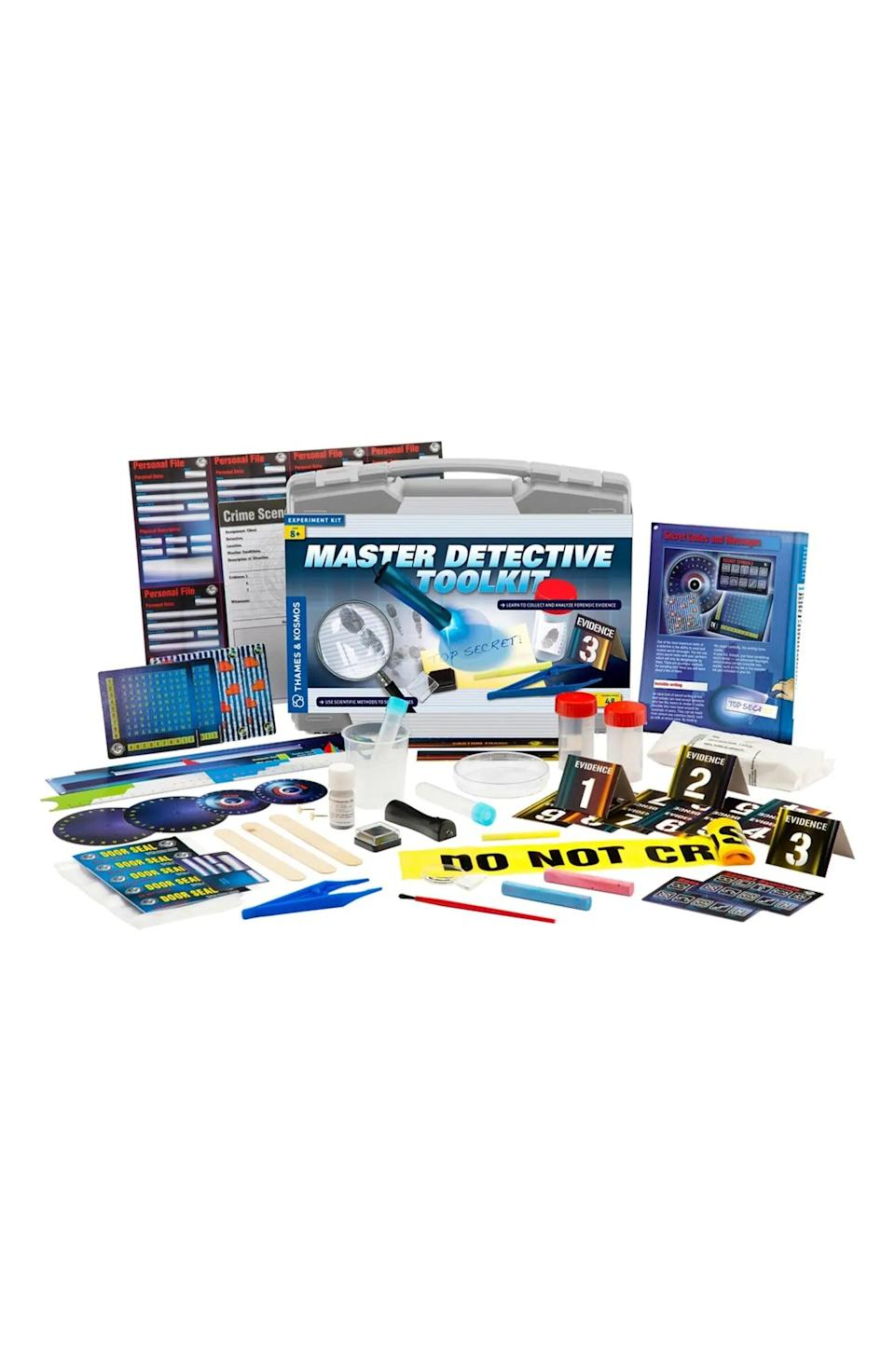 <p>A young detective will enjoy finding clues and using evidence to solve a crime with the <span>Master Detective Toolkit Experiment Kit</span> ($50).</p>