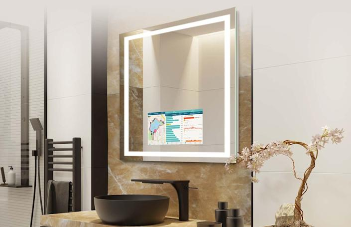 """Available in five sizes, the Savvy SmartMirror is perhaps the most intelligent mirror into which we've ever gazed: When turned on, you can listen to your favorite music, catch up on the news, or watch last night's episode as you get ready in the morning. When it's off, the display completely disappears, and it reverts to being a simple mirror. $4852.5, Lightopia. <a href=""""https://www.lightopiaonline.com/products/integrity-savvy-led-smartmirror.html"""" rel=""""nofollow noopener"""" target=""""_blank"""" data-ylk=""""slk:Get it now!"""" class=""""link rapid-noclick-resp"""">Get it now!</a>"""