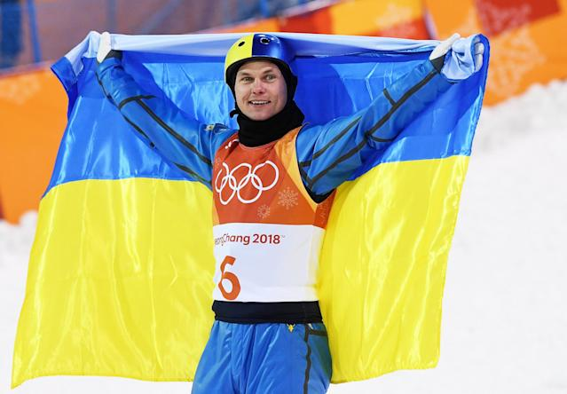 <p>Gold medalist Oleksandr Abramenko of Ukraine celebrates during the Freestyle Skiing Men's Aerials Final on day nine of the PyeongChang 2018 Winter Olympic Games.<br> (Photo by David Ramos/Getty Images) </p>