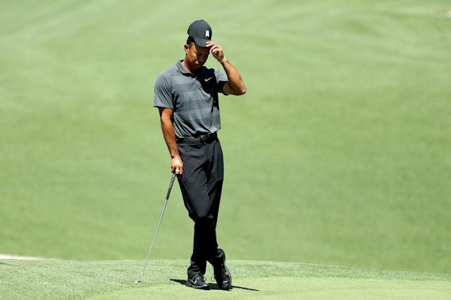 Tiger Woods of the U.S. waits to putt on the 10th green during first round play of the 2018 Masters golf tournament at the Augusta National Golf Club in Augusta, Georgia, U.S., April 5, 2018. REUTERS/Lucy Nicholson