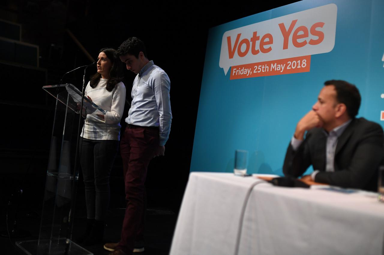 Taoiseach Leo Varadkar listens as Caroline and Michael McCarthy speak about their experience of having to travel to Liverpool for a pregnancy termination due to a fatal foetal abnormality during a Fine Gael party event pressing for a 'Yes' vote in the upcoming May 25th referendum on abortion law, in Dublin, Ireland, April 21, 2018. REUTERS/Clodagh Kilcoyne