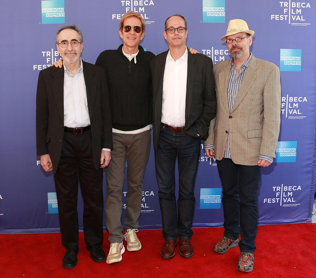 "NEW YORK, NY - APRIL 27:  (L-R) Dr. Robert S. Klein, Matthew Modine, Tom Kalin and David France attend Tribeca Talks: After the Movie ""And the Band Played On"" during the 2013 Tribeca Film Festival on April 27, 2013 in New York City.  (Photo by Robin Marchant/Getty Images)"