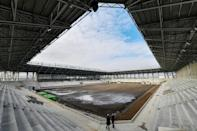 Workers are labouring so that a modern 8,400-seater stadium for the Sepsi OSK football club can open in June