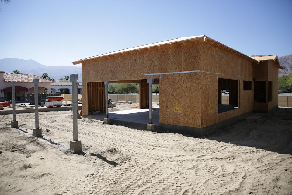 A building sits under construction at La Quinta Village shopping center in California. City leaders touted new business development against the headwinds of the coronavirus pandemic in a socially distant state of the city address that reflected the realities under which the city has been operating since March.