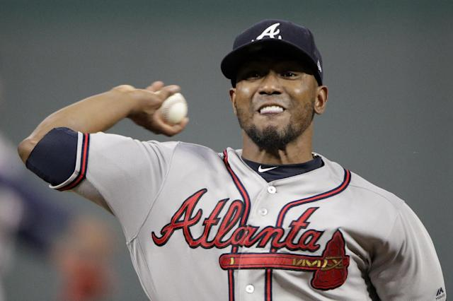 Atlanta Braves starting pitcher Julio Teheran throws during the first inning of a baseball game against the Kansas City Royals Tuesday, Sept. 24, 2019, in Kansas City, Mo. (AP Photo/Charlie Riedel)