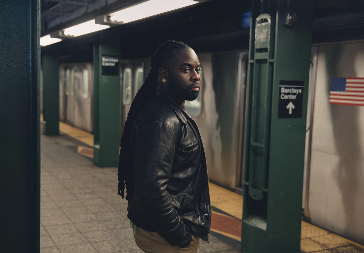 New York Police Department Lt. Edwin Raymond, at the Atlantic/Barclays center subway station in Brooklyn on Nov. 25, 2019, is suing the Police Department for discrimination. (Celeste Sloman/The New York Times)
