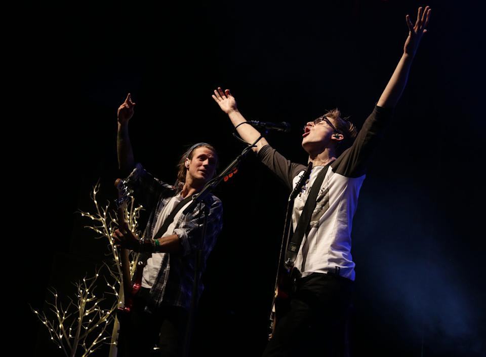 Tom Fletcher and Dougie Poynter of McFly performing at Magic FM's Magic Sparkle Gala at the IndigO2, at the O2 Arena, London.