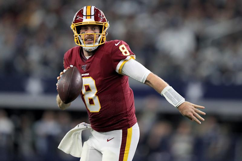 ARLINGTON, TEXAS - DECEMBER 29: Case Keenum #8 of the Washington Redskins scrambles in the second quarter against the Dallas Cowboys in the game at AT&T Stadium on December 29, 2019 in Arlington, Texas. (Photo by Tom Pennington/Getty Images)