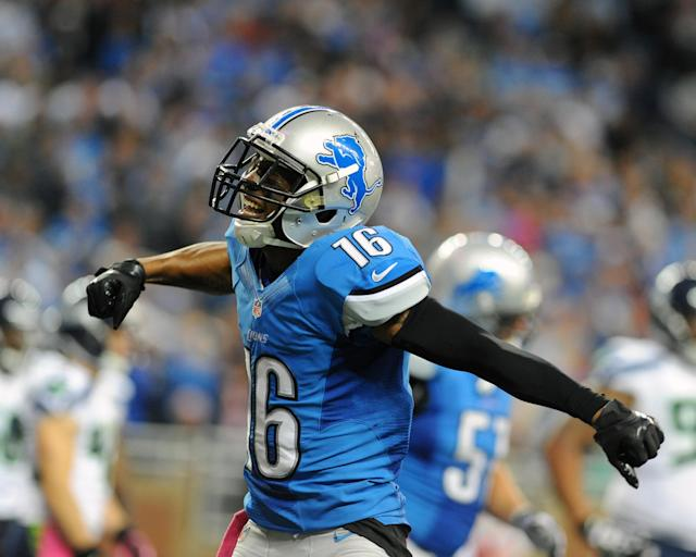 DETROIT - OCTOBER 28: Wide receiver Titus Young #16 of the Detroit Lions celebrates after a touchdown in the fourth quarter against the Seattle Seahawks October 28, 2012 at Ford Field in Detroit, Michigan. The Lions won 28 - 24. (Photo by Al Messerschmidt/Getty Images)