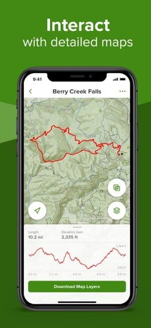 Screenshot of AllTrails app showing map and route marked in red