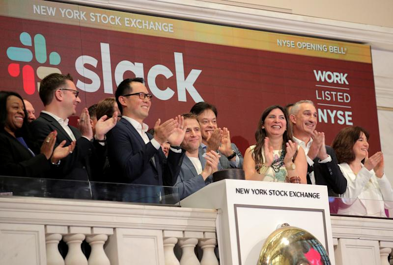 REFILE - CORRECTING INFORMATION AND SLUG The Slack Technologies Inc. CEO Stewart Butterfield rings the opening bell at the New York Stock Exchange (NYSE) during the company's direct listing in New York, U.S. June 20, 2019. REUTERS/Brendan McDermid