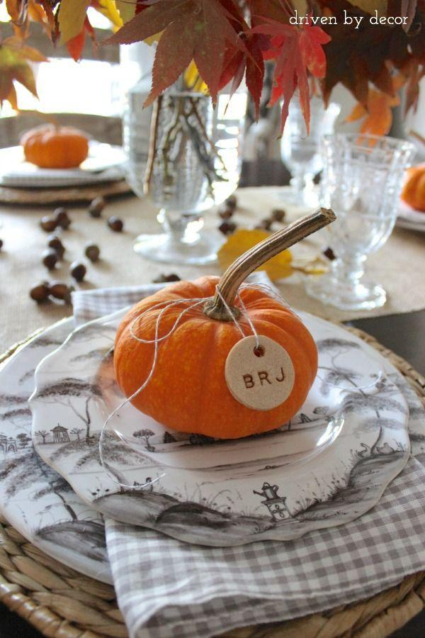 "<p>Who says salt dough ornaments are only for Christmas? When tied to pumpkins, your favorite childhood craft makes delightful <a href=""https://www.countryliving.com/entertaining/g1538/diy-place-cards/"" rel=""nofollow noopener"" target=""_blank"" data-ylk=""slk:Thanksgiving place cards"" class=""link rapid-noclick-resp"">Thanksgiving place cards</a>.</p><p><strong>Get the tutorial at <a href=""https://www.drivenbydecor.com/decorating-thanksgiving-table-breakfast-casserole-recipe/"" rel=""nofollow noopener"" target=""_blank"" data-ylk=""slk:Driven By Decor"" class=""link rapid-noclick-resp"">Driven By Decor</a>.</strong><br></p>"