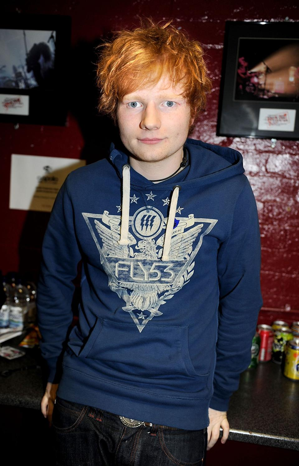 MANCHESTER, ENGLAND - DECEMBER 05:  (EXCLUSIVE COVERAGE) Ed Sheeran poses backstage before performing during Xfm's Winter Wonderland at Apollo on December 5, 2011 in Manchester, England.  (Photo by Shirlaine Forrest/WireImage)